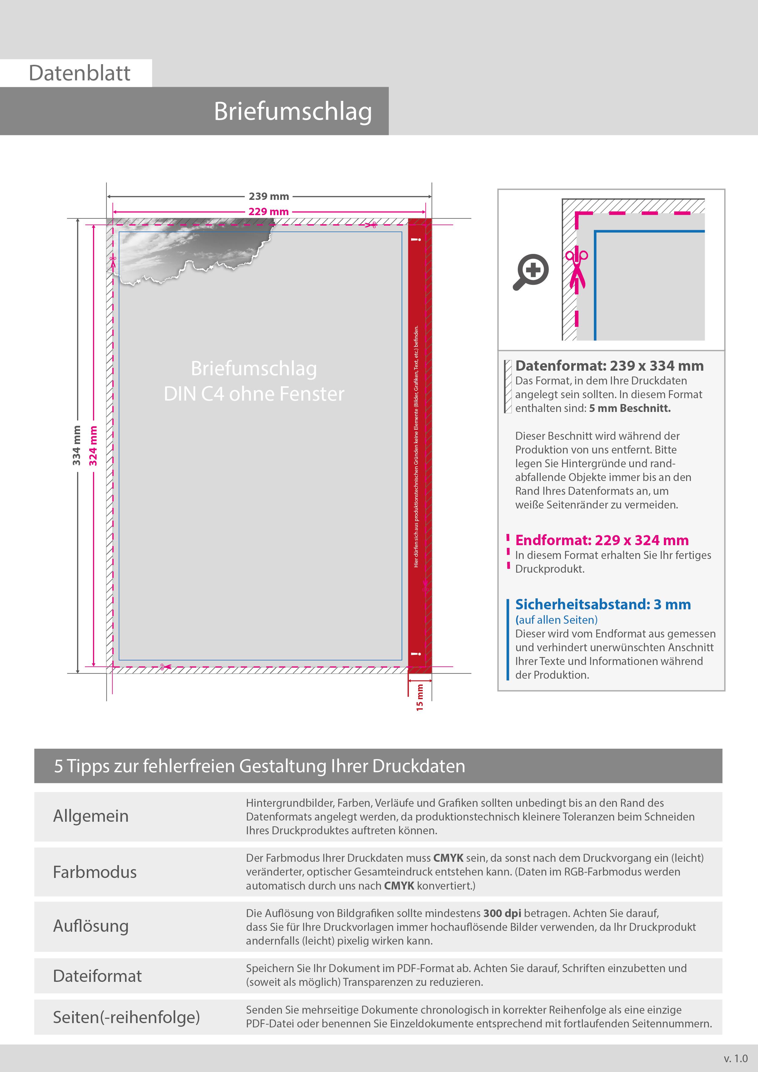 Produktbeschreibung Briefumschlag Din C4 Lasche An Der Breiten